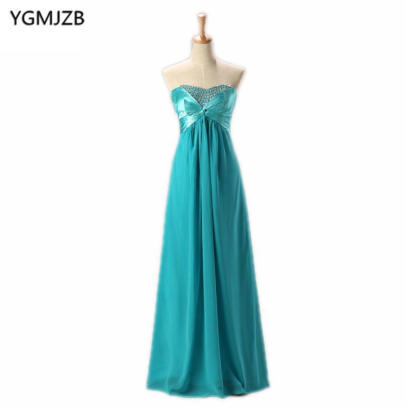 Turquoise   Bridesmaid     Dresses   A Line Sweetheart Floor Length Sequined Chiffon Wedding Party   Dresses   Long   Bridesmaid     Dress   2018