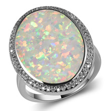 Hot Sale Exquisite White Fire Opal 925 Sterling Silver High Quantity Engagement Wedding Ring Size 5 6 7 8 9 10 11 A184