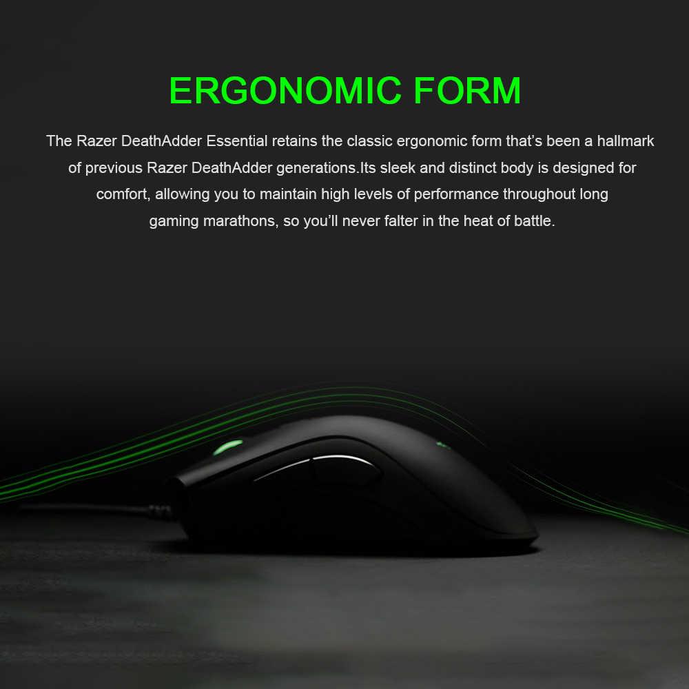 الماسح DeathAdder الضروري السلكية الألعاب ماوس الفئران 6400 ديسيبل متوحد الخواص مستشعر بصري 5 أزرار الأخضر الخلفية لأجهزة الكمبيوتر المحمول الكمبيوتر PC ألعاب
