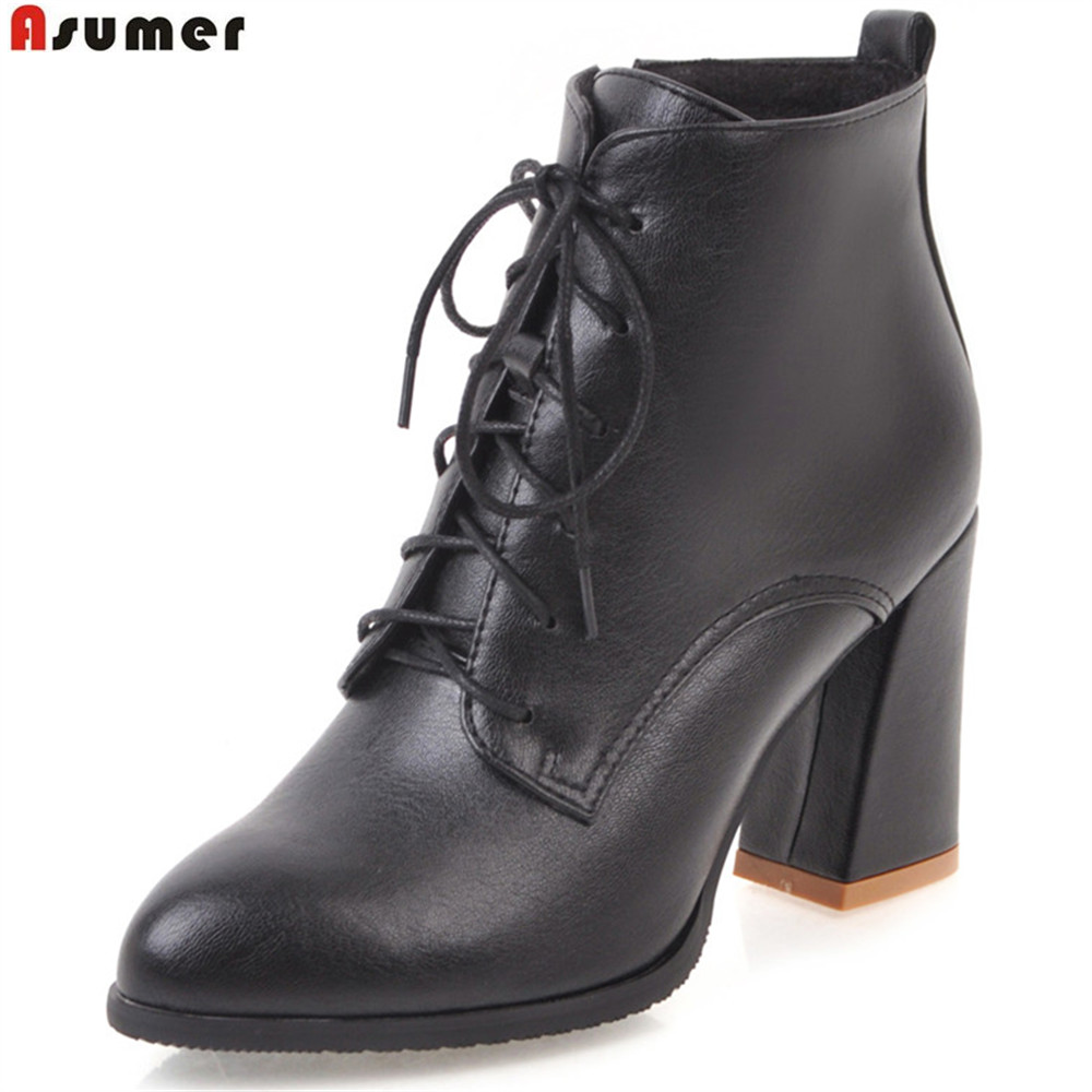 ASUMER 2018 fashion new arrive women boots autumn winter pointed toe lace up ladies boots black red brown ankle boots big size asumer fashion women boots pointed toe zipper flock autumn winter ladies boots black beige gray ankle boots big size 34 44