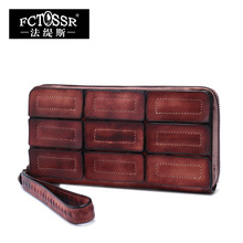 New Women Wallet 2017 Vintage Leisure Soft Cowhide Female Dark Leather Zipper Bag Genuine Leather Purse