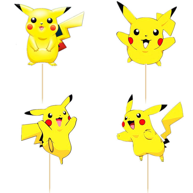 720pcs pokemon gehen Pikachu Cupcake Toppers Picks boy Kids birthday party party decorations baking cake decoration