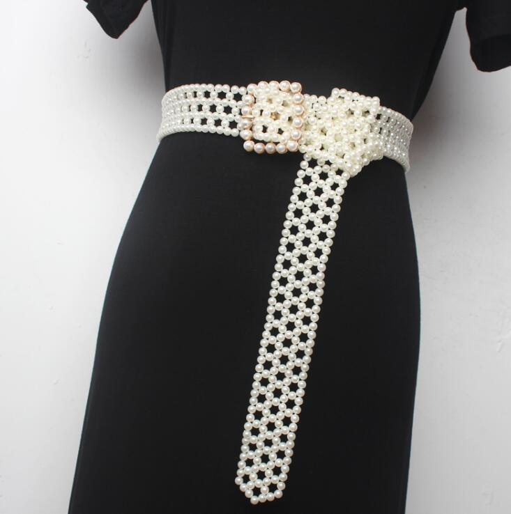 Women's Runway Fashion Pearl Knitted Cummerbunds Female Dress Corsets Waistband Belts Decoration Wide Belt R1668