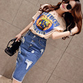 Europe Style  Summer New Women's Two Piece Short Sleeved Crop Top and Denim Skirt Set Fashion Suit Female -do848