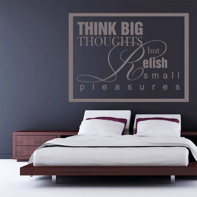 Waterproof diy Wall Decals Bedroom Think Big Thoughts Wall Sticker Quotes  Removable Home Decoration Art Stickers