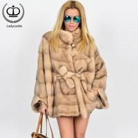 2019 New Hot Sale Real Mink Fur Coat Full Pelt Natural Fur Stand Collar Mink Fur Coats Of Women Real Mink Fur Outwear MKW 076