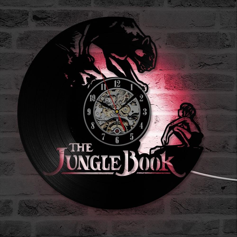 Black Hollow Cartoon CD Record Clock The Jungle Book Vinyl Record LED Wall Clock Antique Style Hanging Wall Clock Nice Gift