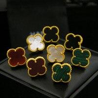 Marca di alta qualità quattro orecchini foglia di trifoglio placcato tutto monili classici per le donne brincos shell 1.2 cm four leaf orecchini