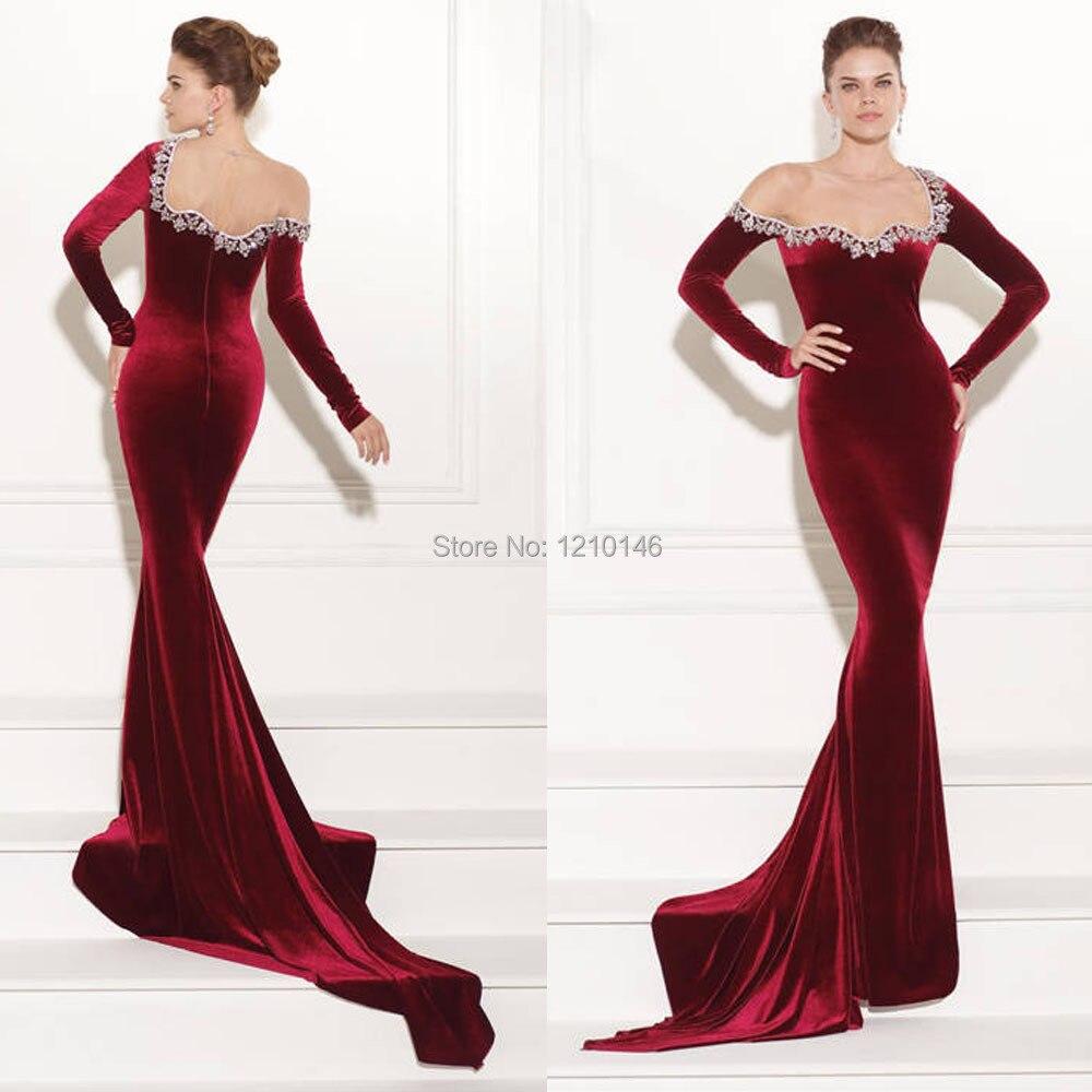 96a72963cc15 2015 Tarik Ediz Sheer One Shoulder Floor Length Beaded Wine Red Velvet  Mermaid Evening Dress-in Evening Dresses from Weddings & Events on  Aliexpress.com ...