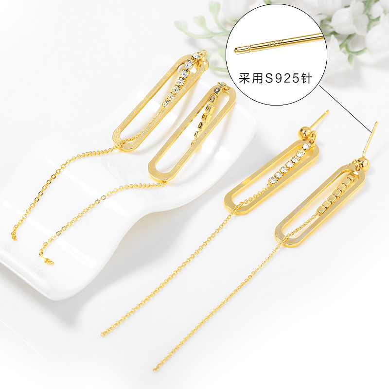 93 2PCS 8x91MM 24K Gold Color Plated Brass Rectangle with Tassel Chain High Quality DIY Jewelry Making Findings in Jewelry Findings Components from Jewelry Accessories