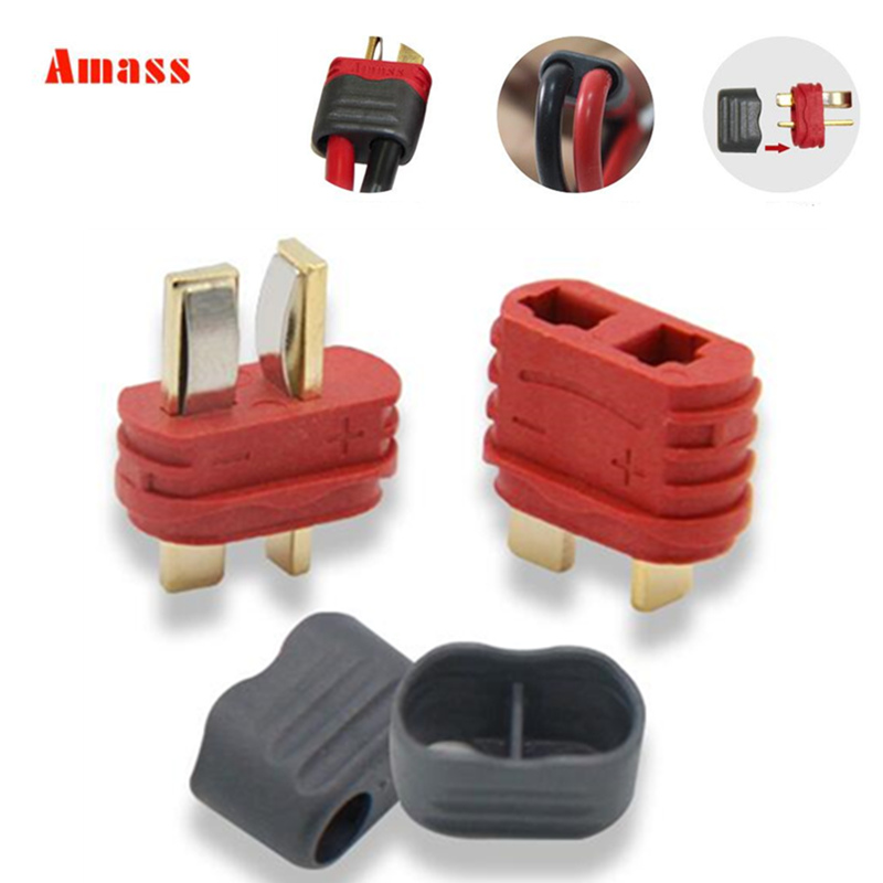 5pair Amass 40A High Current New Slip Sheathed T Plug Deans Connector For Multi-axis Fixed-wing Model Aircraft 20% Off