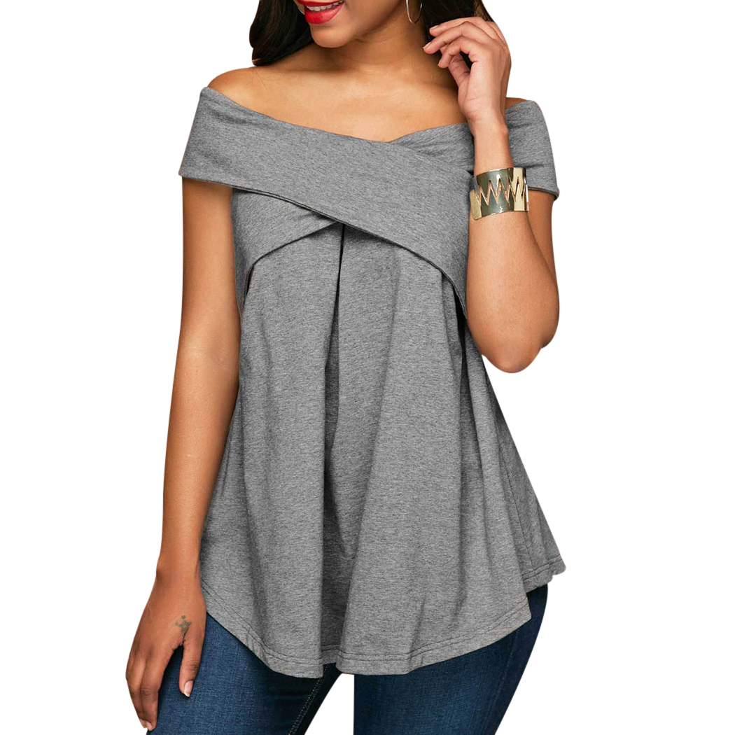 Off Shoulder Womens Tops And Blouses Sexy Cross Wrap Sleeveless Loose Women Shirt Ladies Casual Solid Color Summer Top Blusas ...