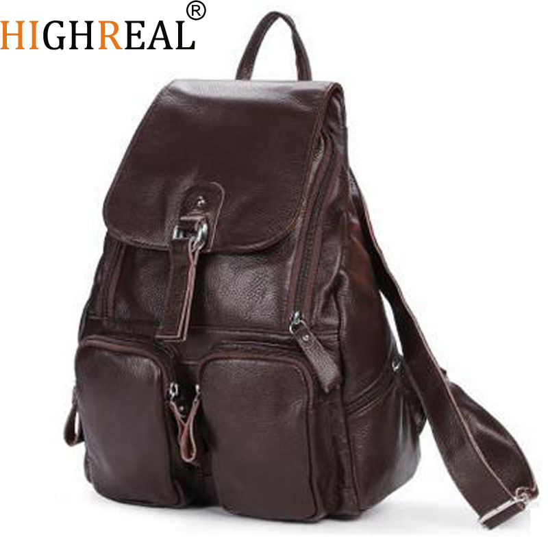 HIGHREAL Women Genuine Leather Backpacks Brand Ladies Fashion Backpacks For Teenagers Girls School Bags Real Leather Travel Bags