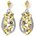 Fashion Golden Citrine, White CZ Created SheCrown Woman's Wedding  925 Silver Earrings 30x13mm