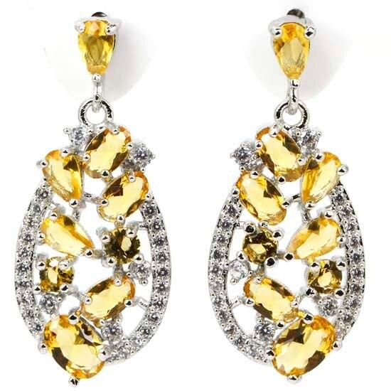 Moda Ouro Citrino, branco CZ Criado SheCrown mulher Casamento 925 Brincos de Prata 30x13mm
