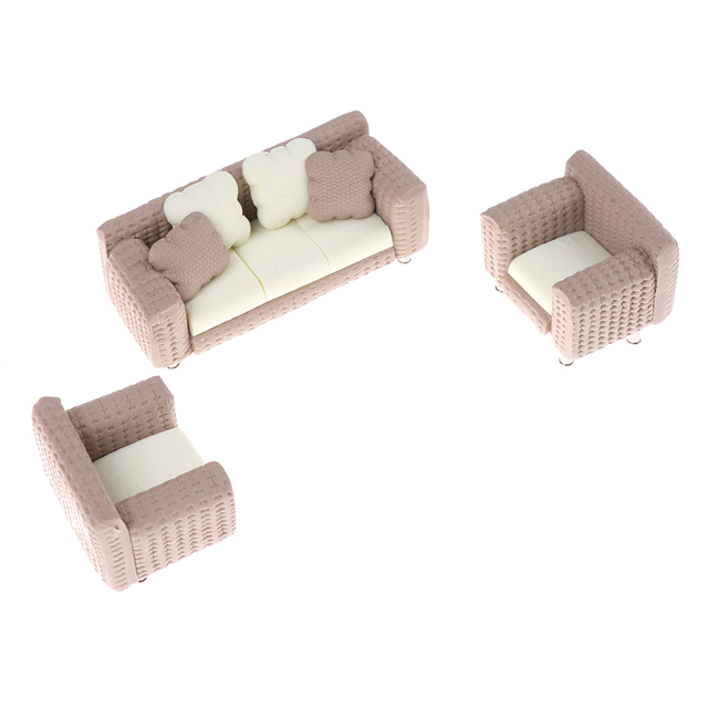1/12 Scale Doll House Miniature Fabric Sofa and Chairs 3 pcs Set