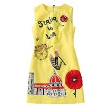 Femmes tenue décontractée de haute qualité piste été col rond sans manches perles paillettes dos bouton a ligne Mini robe SAD476N