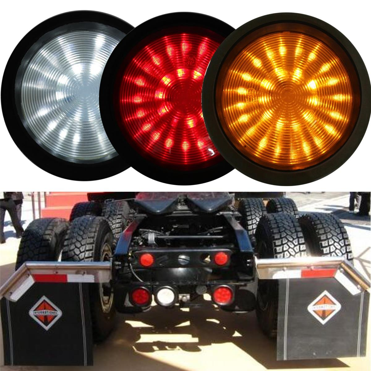 Audew 1x Circular UTE Truck Trailer Lorry Caravan Stop Rear Tail Indicator Light Lamp 30 led trailer truck stop rear tail light indicator lamp caravan lorry car boat van w bracket