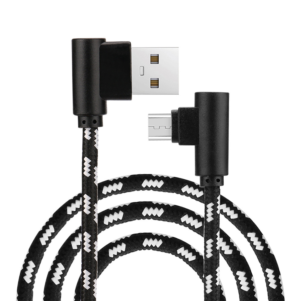 EPULA 2M Micro USB Charger Sync Data Cable Dual Elbow 90 Degree Right Micro USB Braided Charging Data Sync Cable Connector 90 degree usb micro usb kabel charge usb to micro usb spring cable data sync charger cord coiled cabo b left for samsung phones