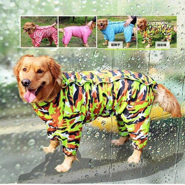 Large Dog Camouflage Raincoat Pet Jumpsuit Dog Raincoat Clothes Appreal for Labrador German Shepherd Golden Retreiver Samoyed