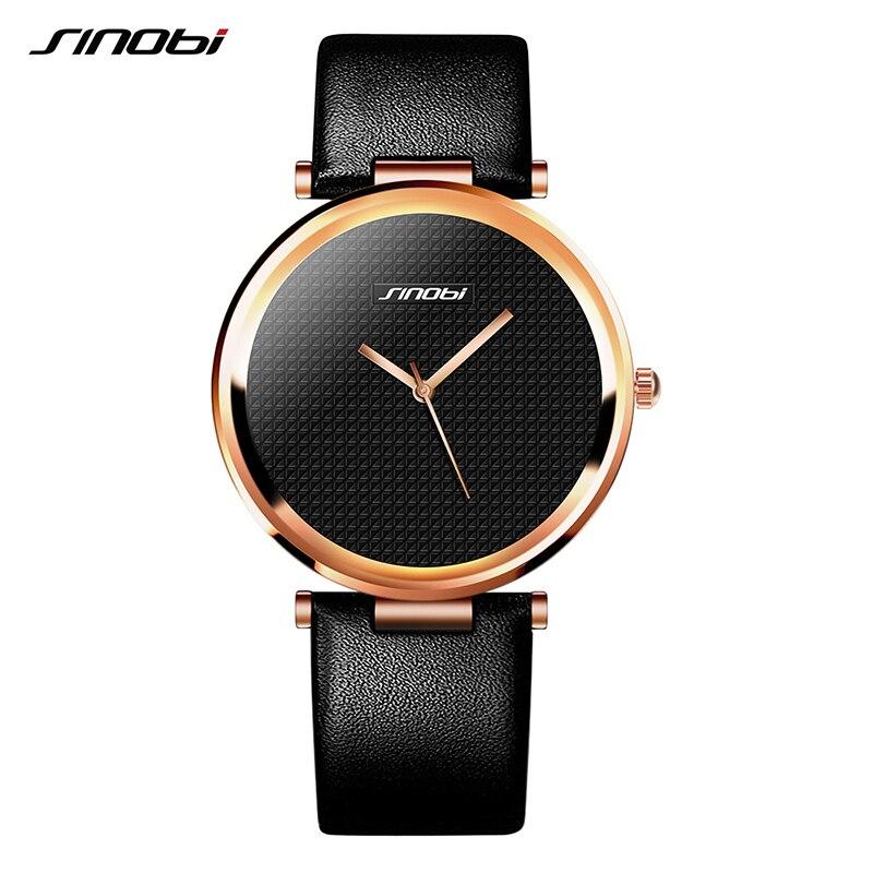 SINOBI Fashion Women Wrist Watches Leather Watchband Top Luxury Brand Female Dress Quartz Clock Ladies Wristwatch Montres Femmes
