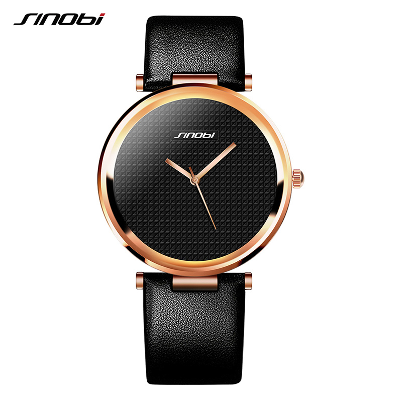 SINOBI Fashion Women Wrist Watches Leather Watchband Top Luxury Brand Female Dress Quartz Clock Ladies Wristwatch Montres Femmes s925 pure silver personality female models new beeswax