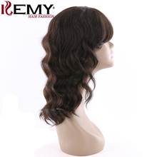 KEMY HAIR FASHION 16″Human Hair Wigs With Bang Natural Color Loose Wave Shoulder Length Brazilian Remy Hair Wig For Black Women