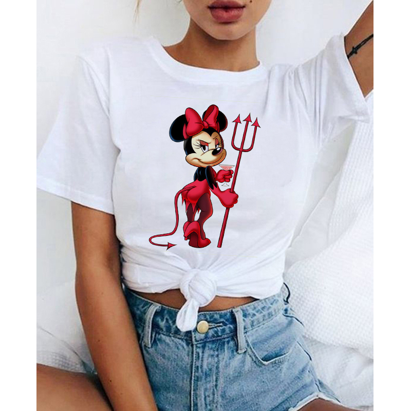 Women T-Shirt Devil Mouse Micky Ear Shirt Girl Tumblr Tee Hipster Vogue T Shirt Cute Holiday Tees Kawaii Aesthetic Clothes