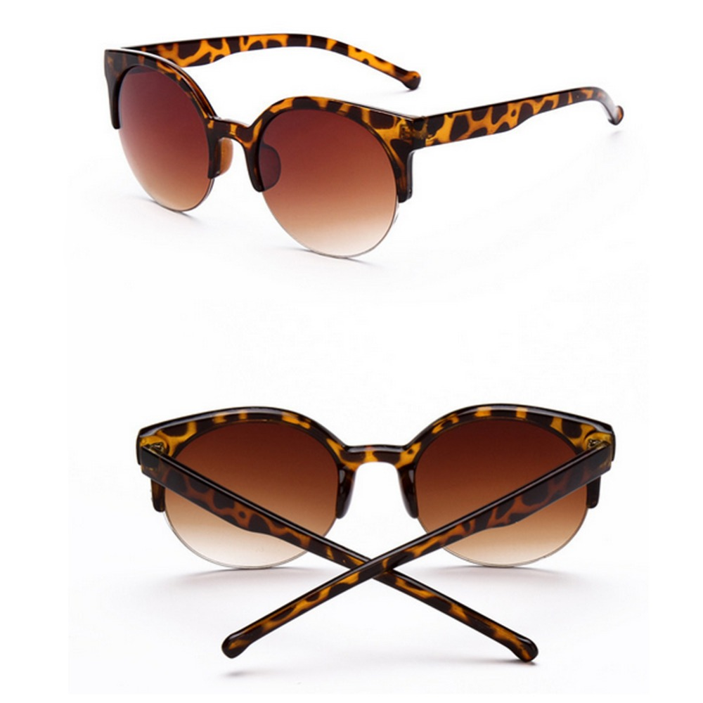 Super Quality Veithdia Brand Retro Designer Round Circle Glasses Cat Eye Semi-Rimless Sunglasses Goggles Oculos de sol