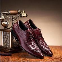 Крокодил узор английские остроконечные обувь мужская кожаная мужская обувь в деловом стиле ретро полуботинки мужские туфли