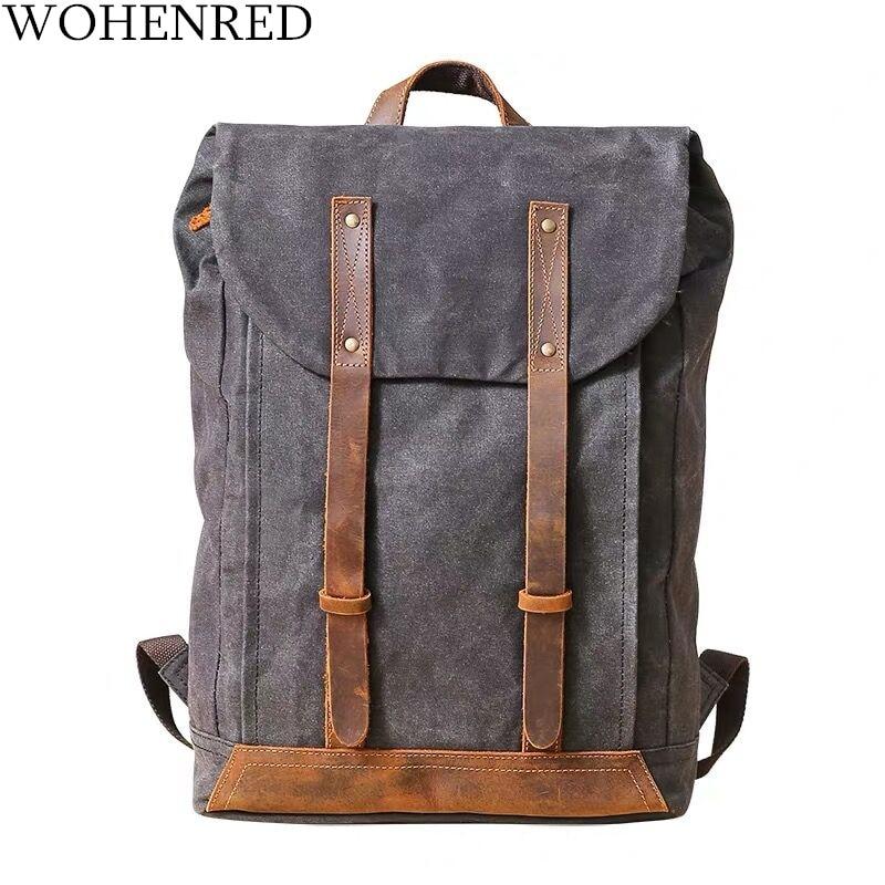 Vintage Large Mens Soft Leather Waterproof Travel Bag Laptop School Backpack