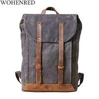 15 Laptops Backpack Men Oil Wax Canvas Leather Travel Rucksacks Large Capacity Teenager School Bags Vintage Waterproof Daypacks