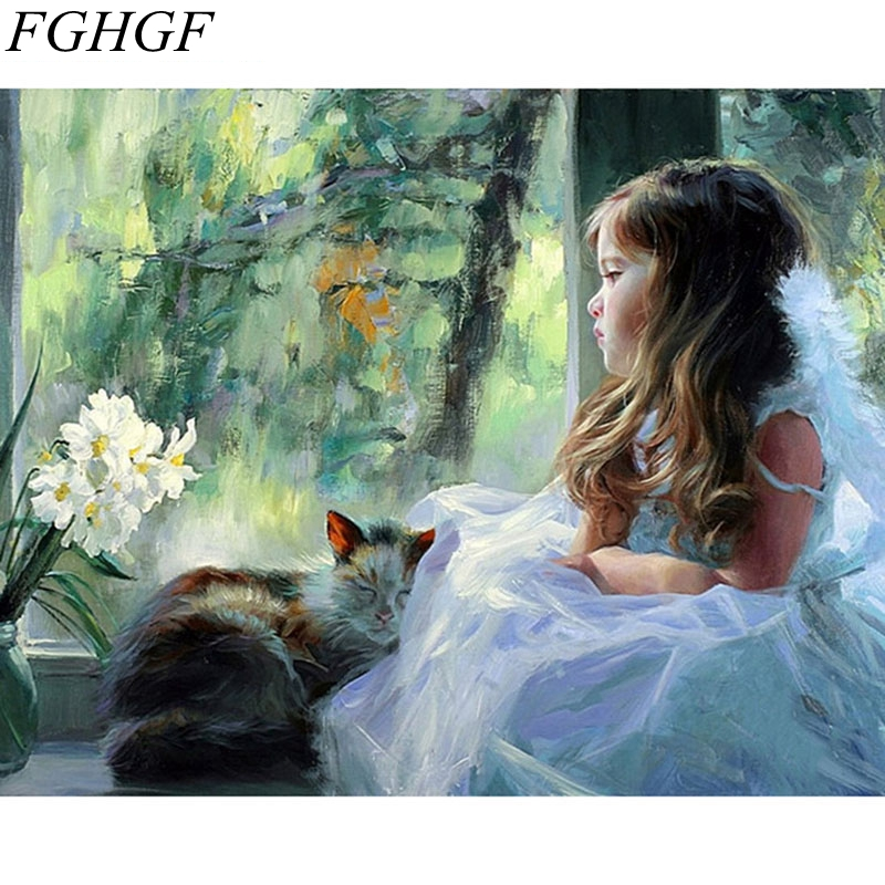 FGHGF Frameless Picture Cute Girl DIY Painting By Numbers Modern Wall Art Handpainted Oil Painting On Canvas