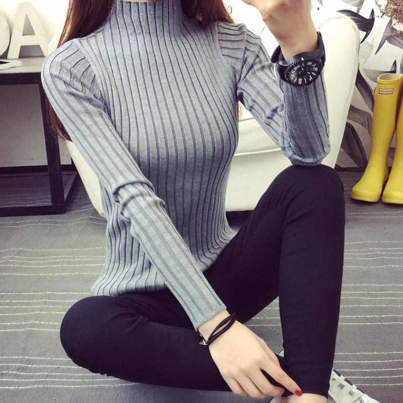 Rajutan Turtleneck Sweater Wanita 2018 New Fashion Musim Gugur Musim - Pakaian Wanita