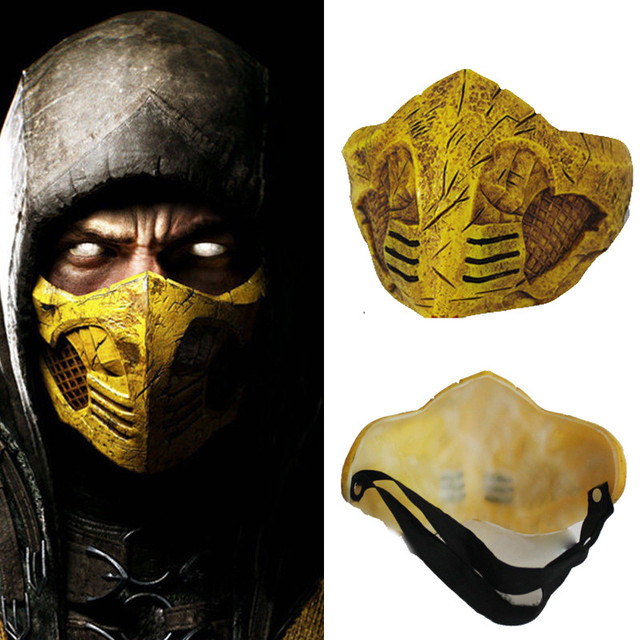 takerlama game for mortal kombat x mask cosplay scorpion halloween adult half face mask party mask
