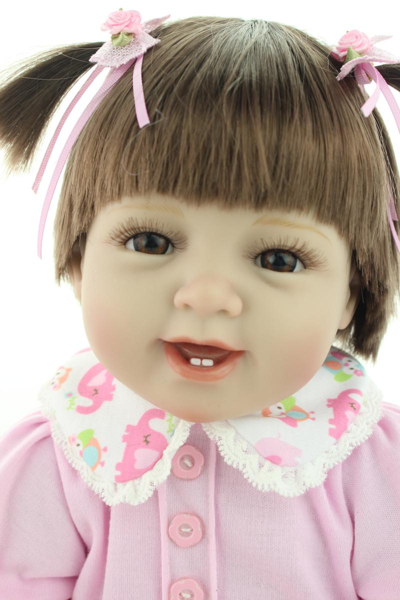55CM Soft Silicone Reborn Dolls 22inch Lifelike Handmade Reborn Babe Dolls Looted Hair Pink Dress Bonecas Smile Toys Girls Gifts
