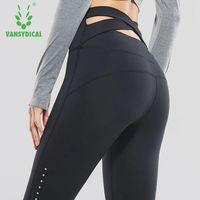 Vansydical Femmes Yoga Pantalon de Course de Remise En Forme Élastique Collants Taille Haute Sport Leggings Croix Ceinture Formation Jogging Gym Pantalon