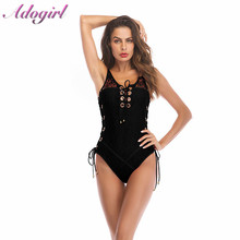 Adogirl Sexy Women Lace Up Backless Bandage Bodysuit Casual Sleeveless Hollow Out Skinny Jumpsuit Body Top Clothes Lady Playsuit