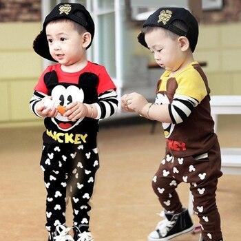 Ropa de los niños del resorte fijados Niños Niñas bebé niños Mickey y Minnie  Niñas set moda traje ropa 0-3years 667d5a04f86