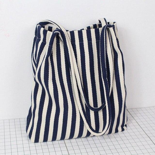 d496d81fdc Bolso mujer vintage femmes épaule bandoulière sacs rayé bleu marine sac à  main toile seau sac