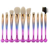 10Pcs Shell Handle Pro Makeup Brushes Set Face Powder Foundation Contour Blush Concealer Eye Shadow Eyeliner