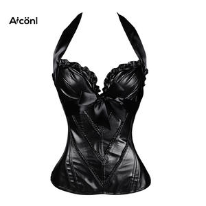 5ff17964db8 corset steampunk gothic sexy bustier plus size leather Slimming Tops Black underbust  corset clothing Push up Chest Straitjacket