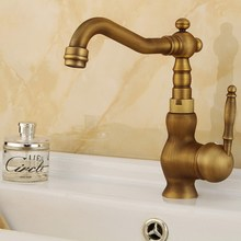 Antique Brass Basin Faucets Single Handle 360 Degree Rotate Bathroom Faucet Hot and Cold Water Mixer Tap KD776