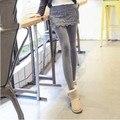 Плюс Размер S-3XL Женщины Леггинсы 2016 Мода Зима Теплая женская Кружева Мини Юбка Брюки Бархатные Брюки Ложные Из Двух Частей