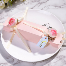 50pcs/lots Pink gift box  baby shower candy box wedding favor boxes packaging paper bags baby shower Event Party Supplies multicolor new pillow shape gift box corrugated paper gift bags with tassel wedding favor candy boxes baby shower party supplies