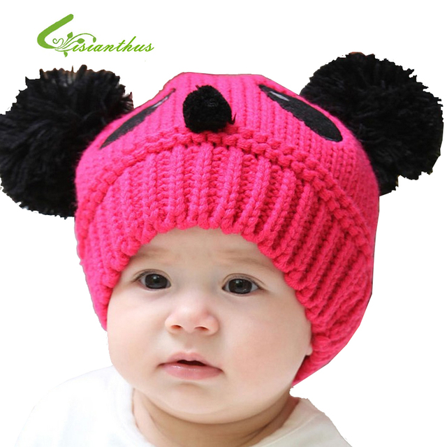 NEW Panda Shaped Cute Boy Girl Hats Winter Baby Knitted Caps Children Keep Warm Hat 8 Colors Christmas Gift 10PCS/ lot Free Ship