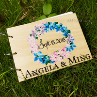 1pcs lot Free Shipping Custom name Wood Guestbook Rustic Baby Shower Birthday wedding personalized signature guest book