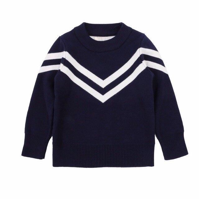 Weixinbuy Little Baby Girls Boys Long Sleeve Slim Fit Sweater Stripe Pattern T-shirts 2-6 Years