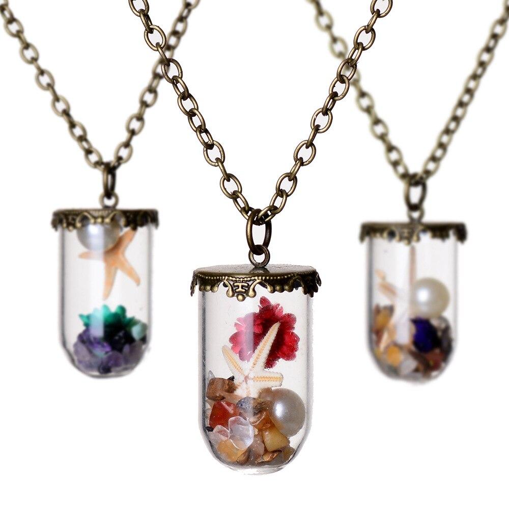 Aliexpress Buy Fashion Flowerpearlshell Glass Necklace