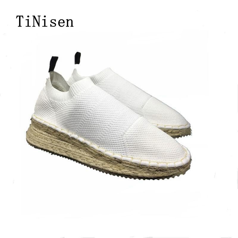 2018 Spring Women Flats Shoes Women Fisherman's Shoes Flat Platform Hemp Rope Casual Shoes Mujer Round Toe Slip-on Size 34-40 spring summer flock women flats shoes female round toe casual shoes lady slip on loafers shoes plus size 40 41 42 43 gh8